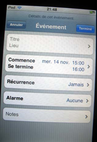 Ical Ipod Touch maj